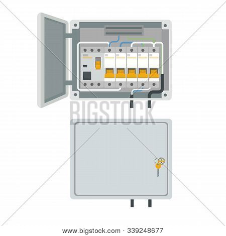 Fuse Box. Electrical Power Switch Panel. Electricity Equipment. Vector