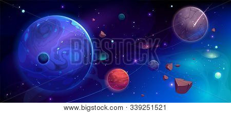 Planets In Outer Space With Satellites, Falling Meteor And Asteroids In Dark Starry Sky. Galaxy, Cos