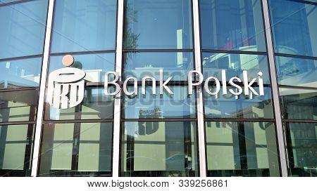 Warsaw, Poland. 11 December 2019. Sign Bank Polski. Company Signboard Bank Polski.