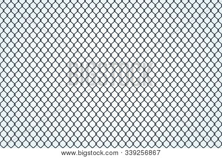 Seamless Texture Of Metal Mesh. Barbed Fence Prison Barrier, Secured Property. Chain Link Fence Wire