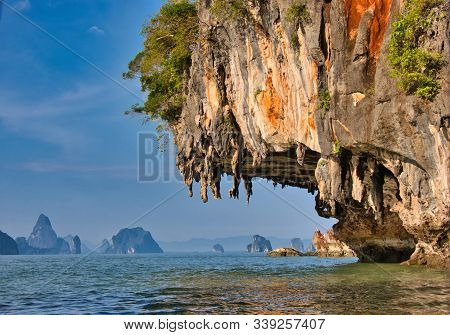 Picturesque Rock With Stalactites On The Sea Coast Of Thailand.