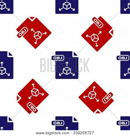 Blue And Red Obj File Document. Download Obj Button Icon Isolated Seamless Pattern On White Backgrou