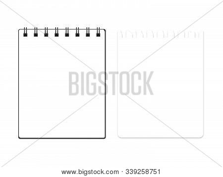 Vector Block Note With Torn Block Note Page Set. Illustration Of Empty Notebook Isolated On White. B