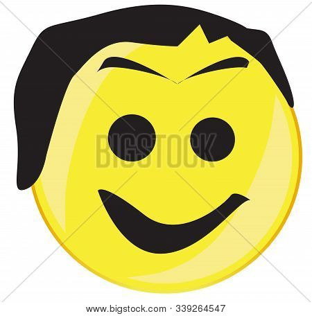 A Hairy Arge Eyed Smile Face Button Isolated On A White Background