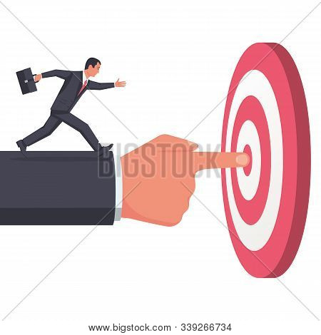 Businessman Pointing To Target. Teamwork To Achieve A Common Goal. Successful Person Is Heading Towa