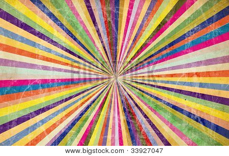 Retro Rainbow Sunray Background