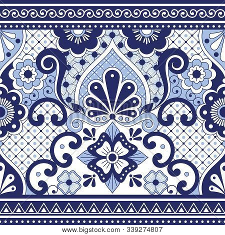 Mexican Talavera Poblana Vector Seamless Pattern, Repetitive Background Inspired By Traditional Pott