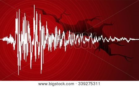Vector Illustration Of Earthquake Curve Wave And Earth Crack On Red Background