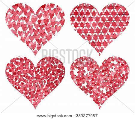 Set Of Cute Watercolor Hearts For Valentines Day. Pattern In Polka Dot Style, Floral Print, Ethnic A