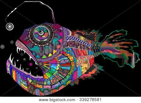 Colorful Rainbow Palette Deep Abyssal Angler Fish Lophius Piscatorius