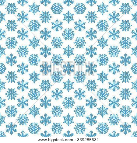 Snowflakes Seamless Winter Pattern. Print For New Year Wallpapers, Christmas Card. Blue And White Or
