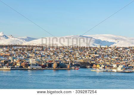 Sanset Over City Of Tromso In The Winter