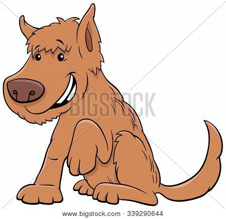Cartoon Illustration Of Funny Shaggy Dog Or Puppy Animal Character