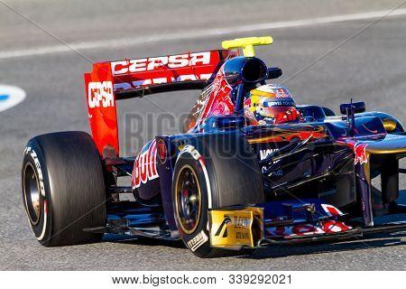 Jerez De La Frontera, Spain - Feb 10: Jean Eric Vergne Of Toro Rosso F1 Races On Training Session On