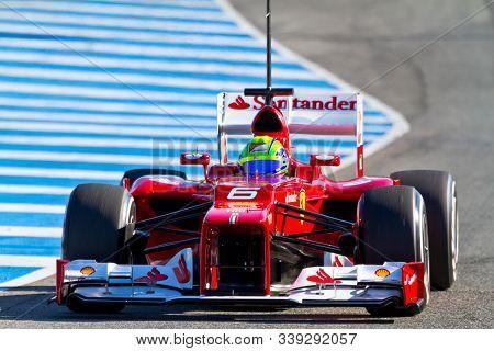 Jerez De La Frontera, Spain - Feb 07: Felipe Massa Of Scuderia Ferrari F1 Races On Training Session