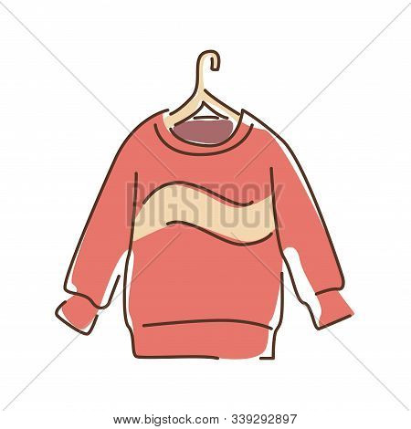 Pullover Color Line Icon. A Piece Of Woollen Clothing That Covers The Upper Part Of Body And Arms. P