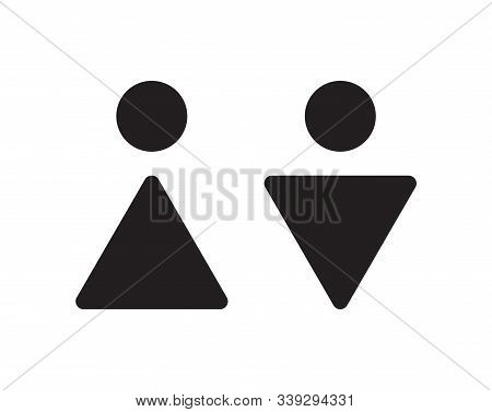 Abstract Male And Female Wc Icons. Restroom Pictogram For Washroom In Public Places. Simple Abstract
