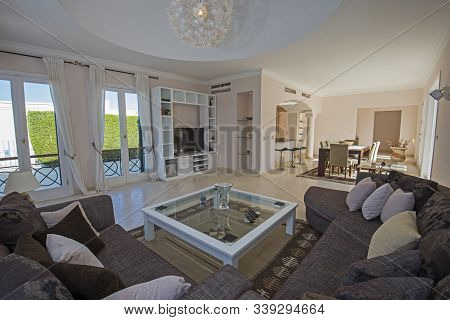 Living Room Lounge In Luxury Villa Show Home Showing Interior Design Decor Furnishing And Open Plan