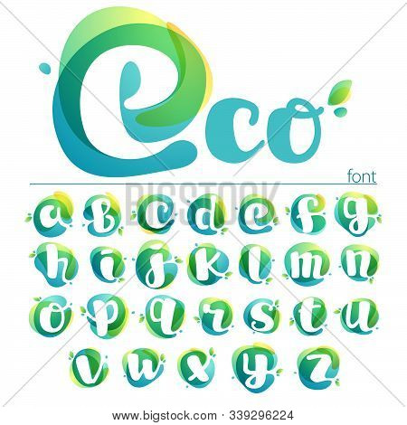 Ecology Lowercase Alphabet. Overlapping Watercolor Font With Green Leaves. Vector Green Template Can