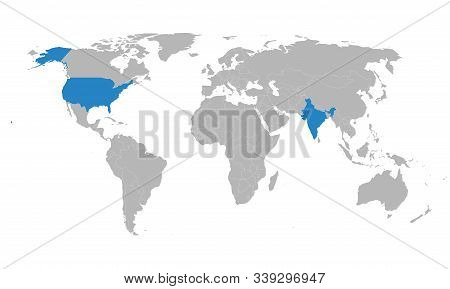 India, Us Map Highlighted Blue On World Map Vector. Gray Background. Perfect For Backgrounds, Backdr