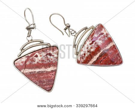 Vintage Earrings With Polished Natural Red Brecciated Jasper Gemstones Isolated On White Background