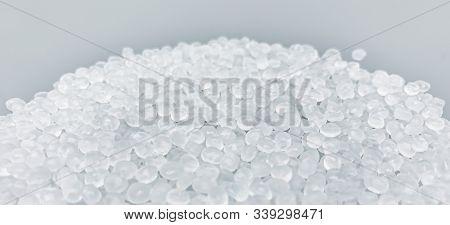 Polypropylene Granule Close-up Background Texture.