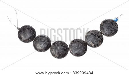 String Of Beads From Natural Polished Labradorite Gemstone Isolated On White Background