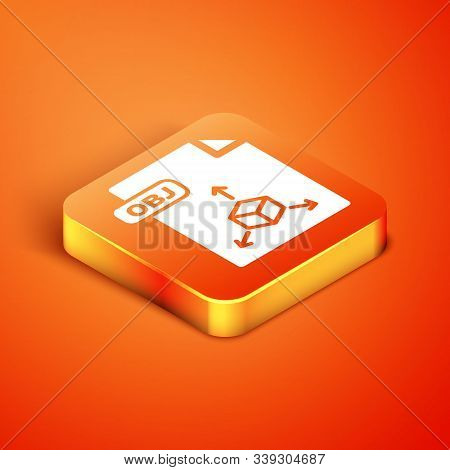 Isometric Obj File Document. Download Obj Button Icon Isolated On Orange Background. Obj File Symbol