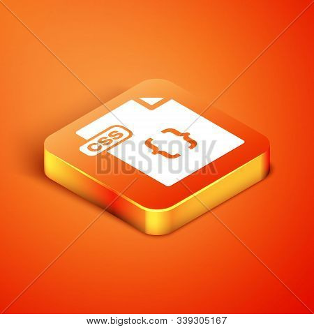 Isometric Css File Document. Download Css Button Icon Isolated On Orange Background. Css File Symbol