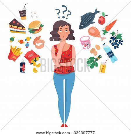 Woman Choosing Between Healthy And Unhealthy Food. Fast Food Vs Balanced Menu Comparison. Concepts D