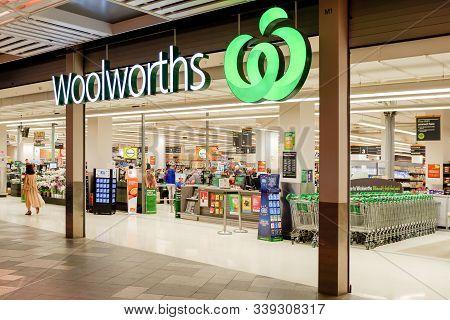 Sydney, Australia 04-10-2019. Entrance To Woolworths Supermarket. Woolworths Is An Australian Superm