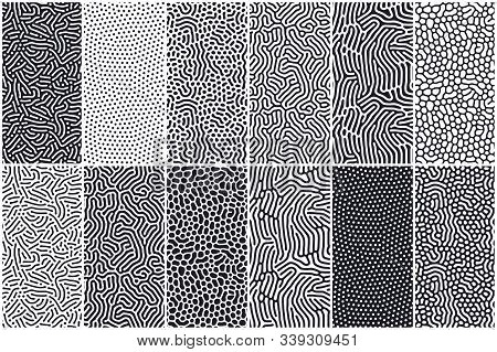 Set Of Organic Seamless Patterns With Rounded Lines, Drips. Diffusion Reaction Background. Linear De