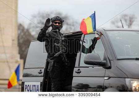 Bucharest, Romania - December 01, 2019: Officer From The Special Actions And Intervention Service (s