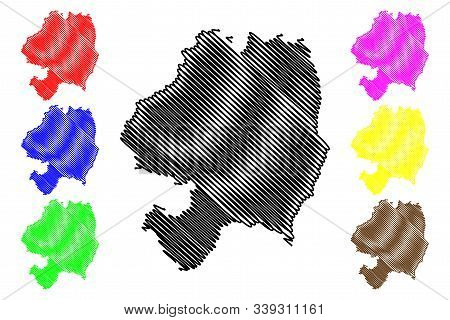 Wicklow County Council (republic Of Ireland, Counties Of Ireland) Map Vector Illustration, Scribble