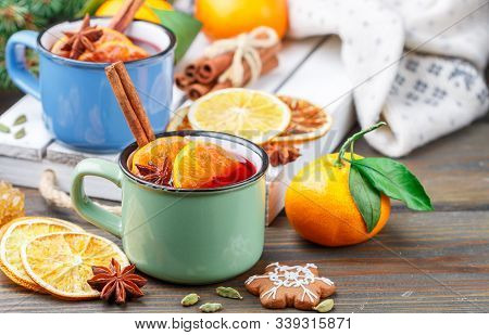 Traditional Hot Winter Tea (compote) With Cranberries, Citrus Fruits (orange Or Mandarin), Cinnamon,