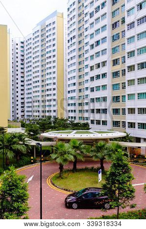Singapore-04 Jan 2017: Singapore Hdb Residential Buildings Area Entrance Day View