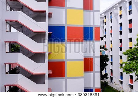 Singapore-04 Jan 2017: Colorful Singapore Hdb Residential Building Facade View