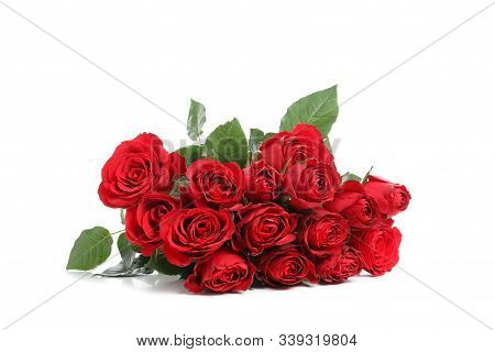 Bouquet Of Red Rose With Green Leaves Isolated On White Background