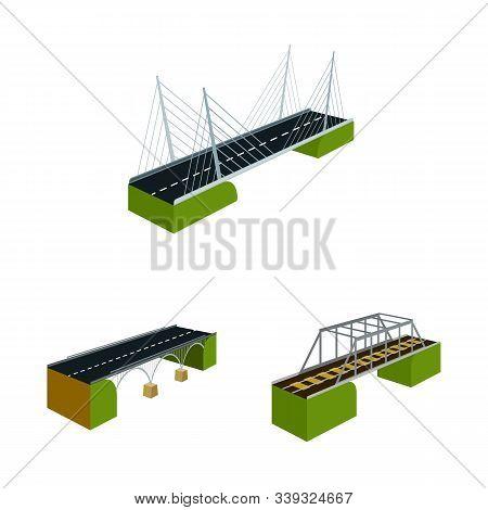 Vector Design Of Bridgework And Architecture Logo. Set Of Bridgework And Structure Stock Vector Illu