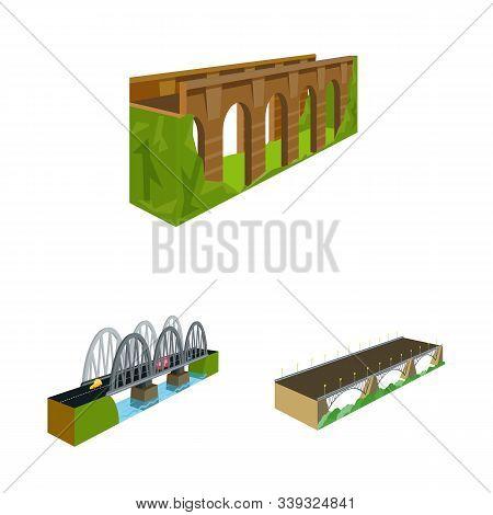 Vector Illustration Of Bridgework And Architecture Sign. Collection Of Bridgework And Structure Stoc