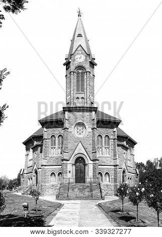 Warden, South Africa - May 1, 2019: Front View Of The Dutch Reformed Church, In Warden, In The Free