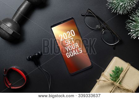 2020 Goals New Year Resolutions Fitness Healthy Goals Concept. 2020 Set Your Goals Text On Mobile Ph