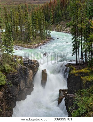 Long Exposure Image Of The Sunwapta Falls, Beautiful Place Close To The Icefields Parkway, Jasper Na