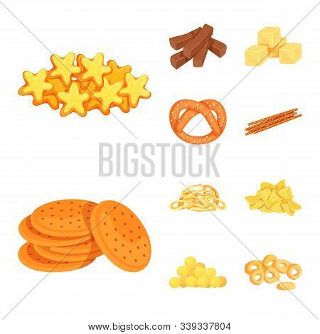 Vector Design Of Food And Crunchy Logo. Set Of Food And Flavor Stock Symbol For Web.