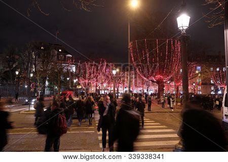Paris, France - December 10, 2019: Christmas Decorations In Champs-elysees Avenue Of Paris, France.