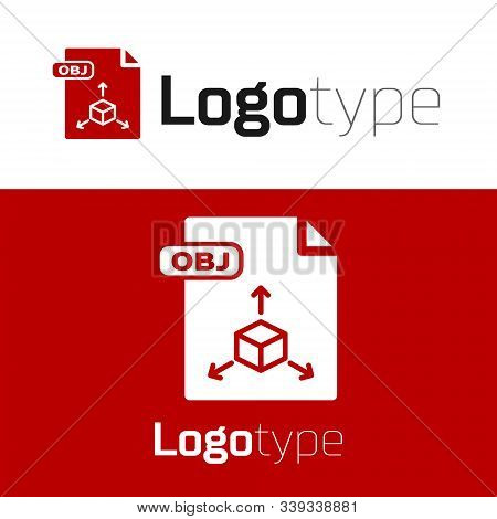 Red Obj File Document. Download Obj Button Icon Isolated On White Background. Obj File Symbol. Logo