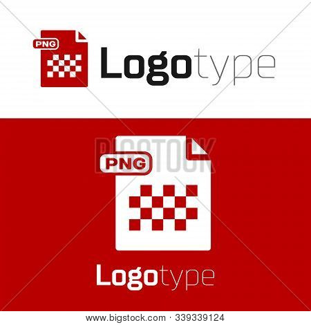 Red Png File Document. Download Png Button Icon Isolated On White Background. Png File Symbol. Logo