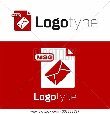 Red Msg File Document. Download Msg Button Icon Isolated On White Background. Msg File Symbol. Logo