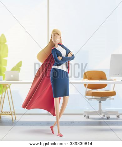 Young Business Woman Emma In Action Pose. Female Superhero. 3d Illustration