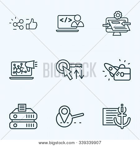 Seo Icons Line Style Set With Custom Coding, Sort Keywords, Website Optimization And Other Navigatio